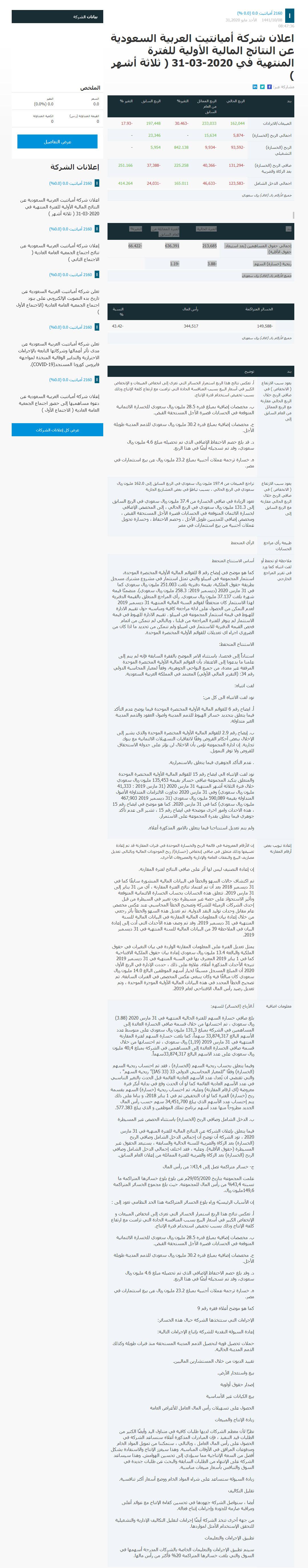 Amiantit Website Announcement arabic